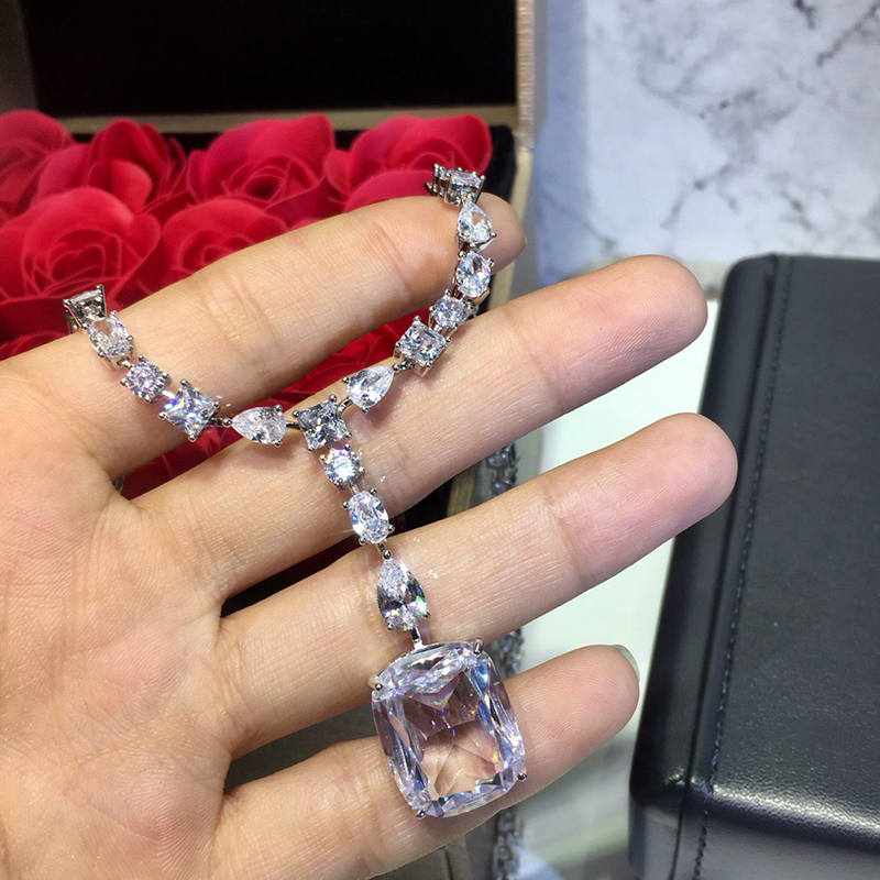 925 bijoux en argent Sterling élégant forme carrée collier en argent romantique coloré cristal gemme pierre pendentif Fine personnalisé bijoux - 3