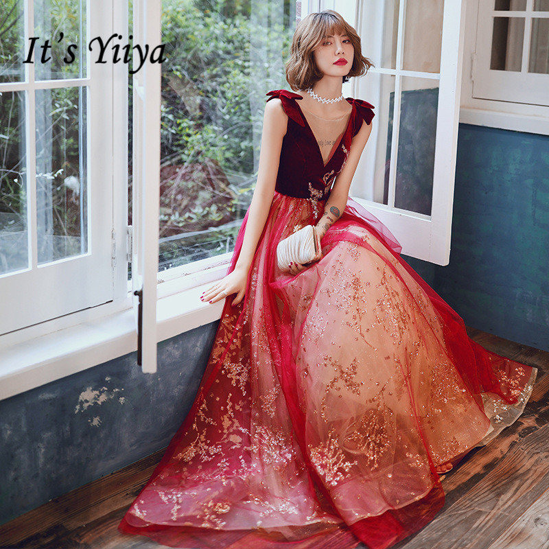 It's Yiiya Evening Dress Burgundy Shiny Lace Up Formal Gowns Sleeveless Illusion O-neck Plus Size Long Robe De Soiree K272