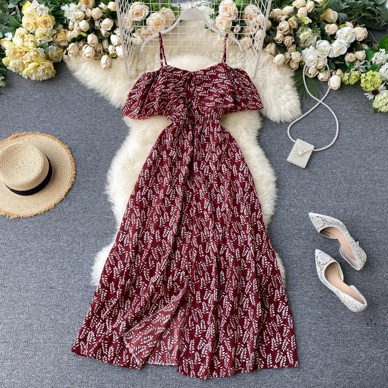 2020 new fashion women's clothing dresses dress women Spaghetti Strap Slash neck