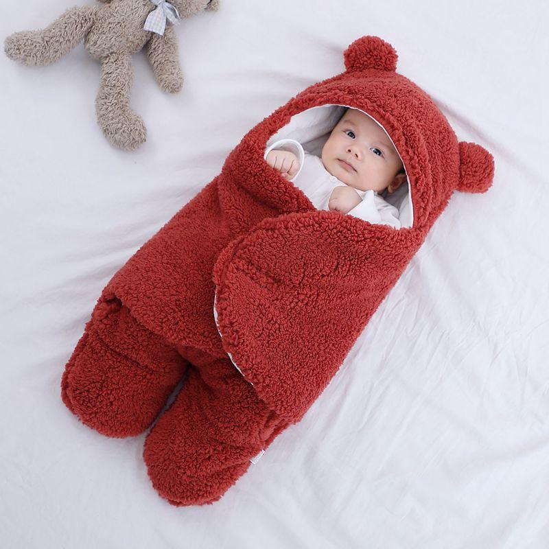 Baju tidur bayi bulu lembut berbulu lembut yang baru lahir menerima - Peralatan tempat tidur - Foto 4
