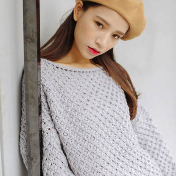 Ailegogo New Autumn Winter Women Knitted Pullovers Casual Female White O-neck Loose Sweater Solid Color Ladies Knitwear Tops 1