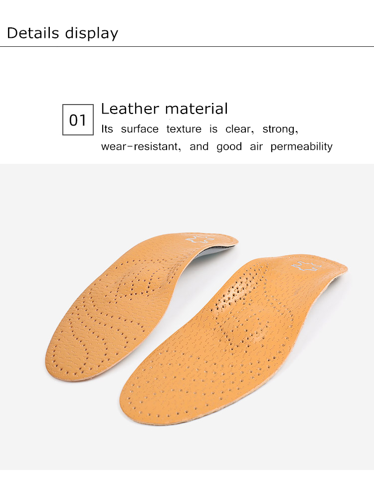 Palmilha ortopédica de couro para pés planos