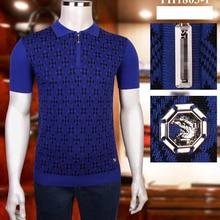 Billionaire polo shirt silk men 2021 New fashion short sleeve new thin zipper elasticit Embroidery big size M-4XL high quality