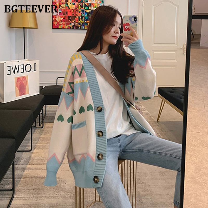 Elegant Colorful Pattern Women Sweaters Autumn Winter 2019 Single-breasted Cardigans Female Loose Open Stitch Knitted Outerwear