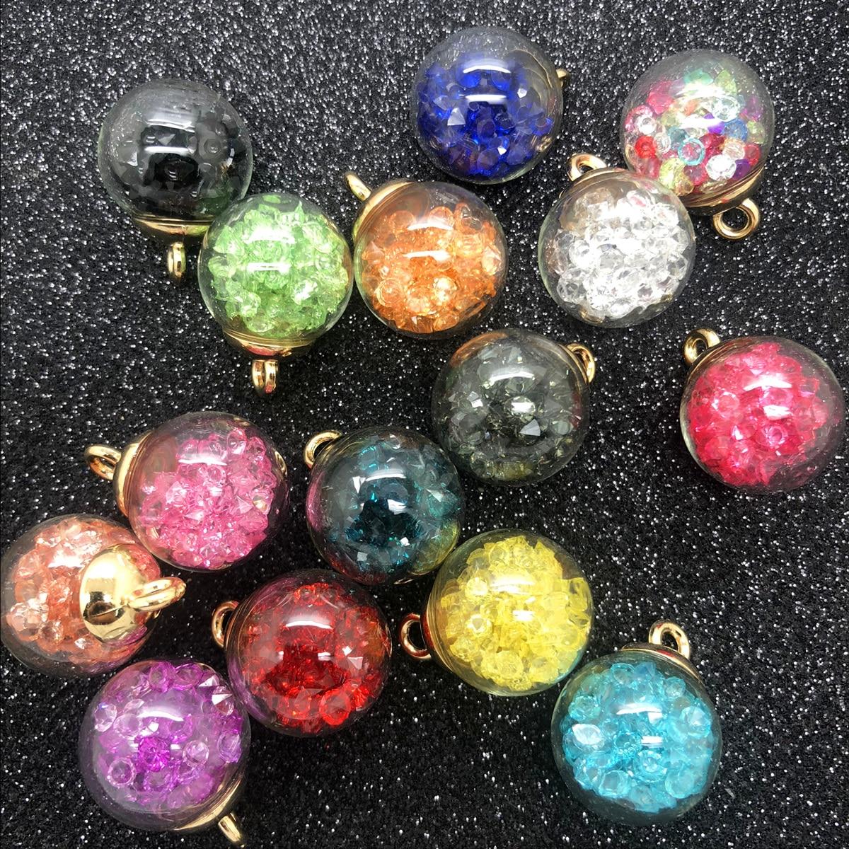 NEW 10PCS 16MM Mini Glass Bottles with Beads Pendant Ornaments Jewelry Making