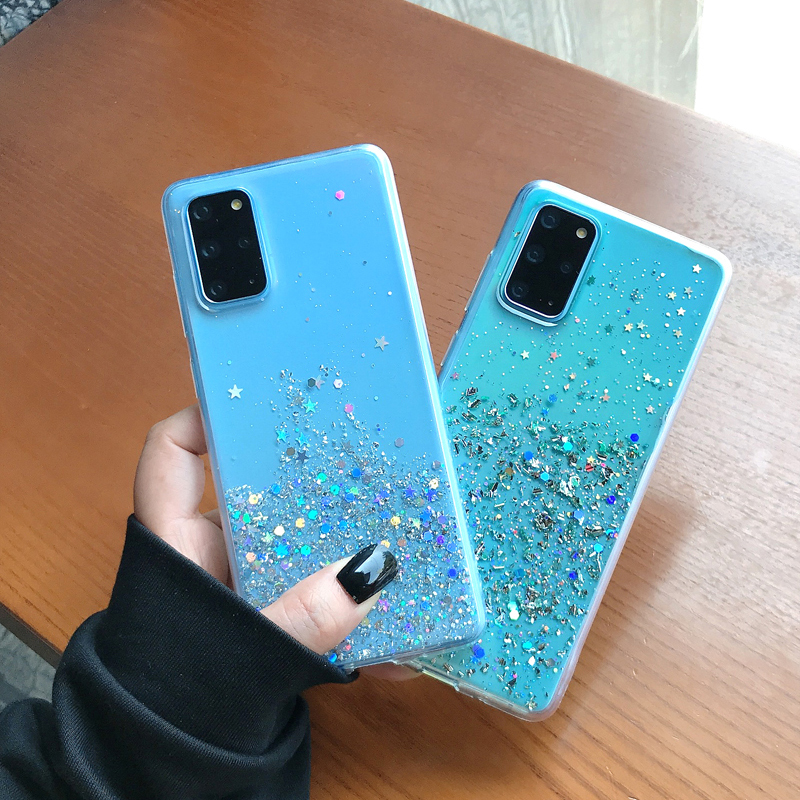 Luxury Glitter Case For Samsung Galaxy S20 Ultra S10 S9 Plus S10e Silicone Soft Transparent Case For Samsung Note 10 9 8 Thin