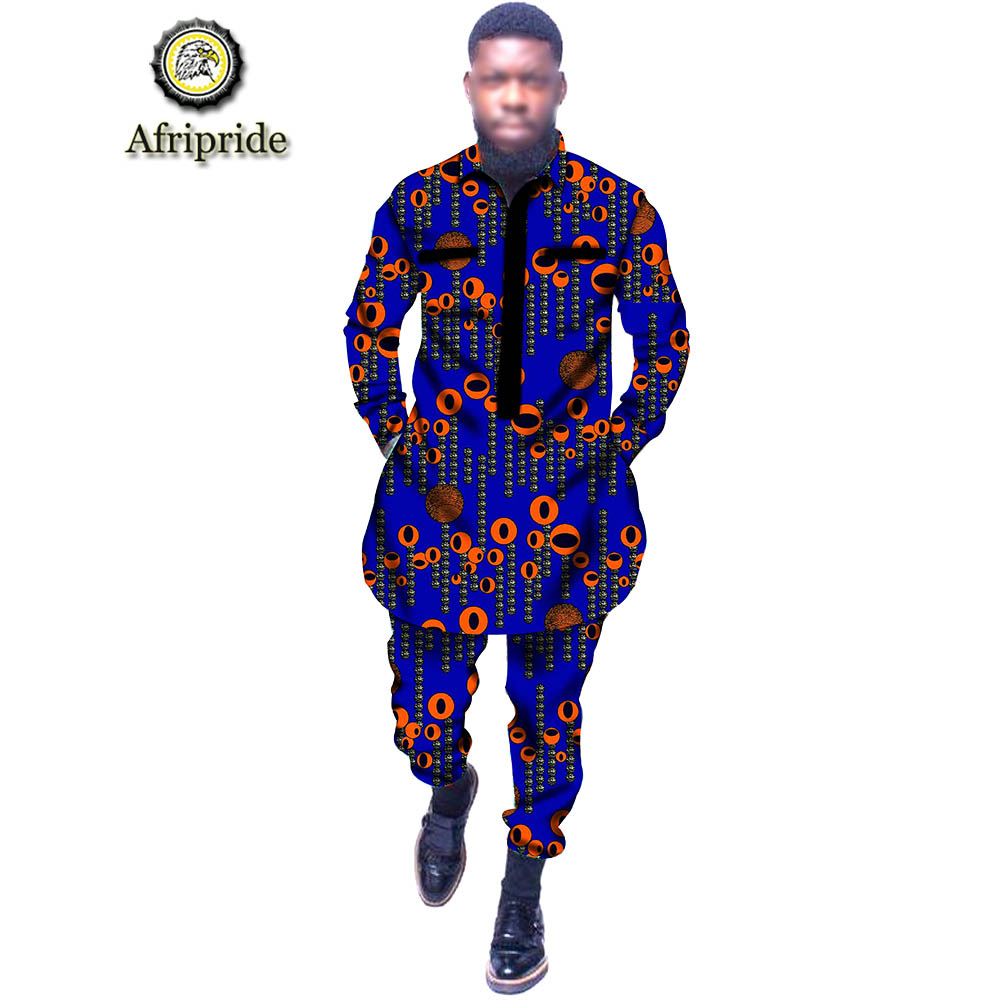 2019 <font><b>mens</b></font> clothing <font><b>african</b></font> print fabric dashiki outfit <font><b>wax</b></font> big and tall tribal outwear <font><b>shirt</b></font>+pant 2 piece set AFRIPRIDE S1916010 image