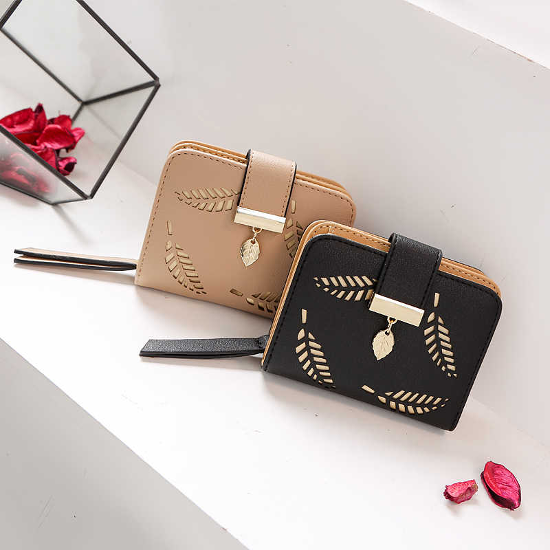 Cartera de moda para mujer, cartera corta para mujer, bolso hueco para mujer, monedero de cuero PU, tarjetero Carteira