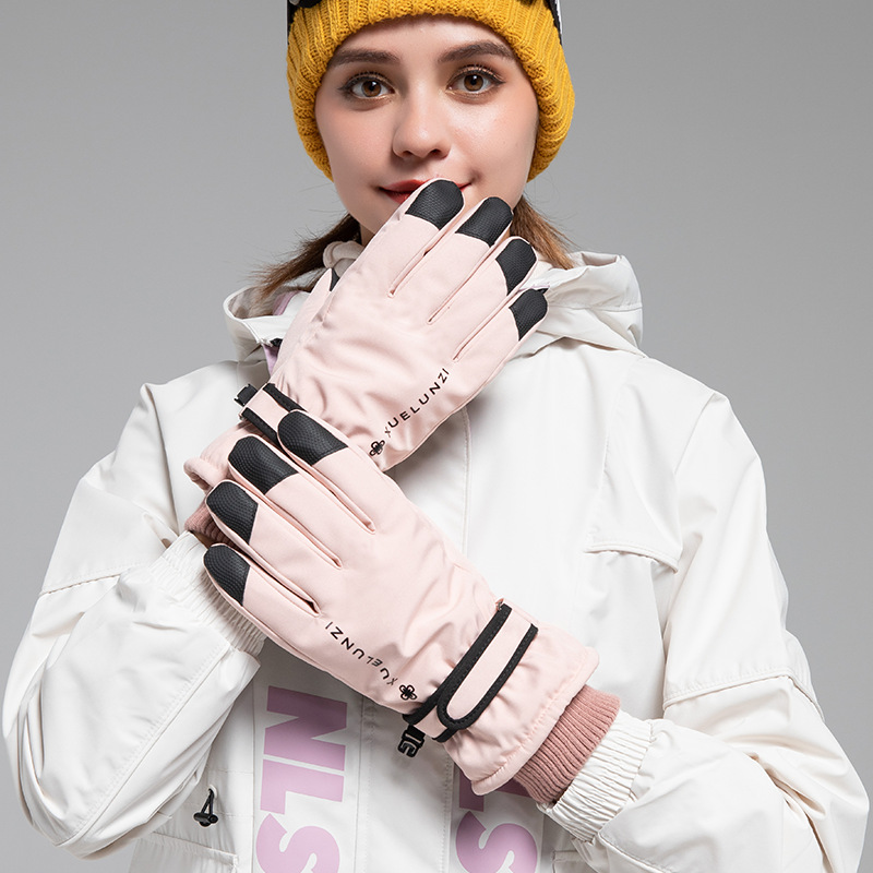 Autumn and winter outdoor skiing bicycle gloves women's warm velvet waterproof anti-skid wear-resistant gloves touch screen