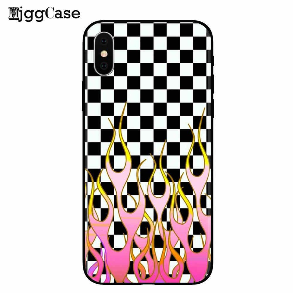 متقلب الأرجواني و الوردي لهب روز الغطاء الخلفي لينة سيليكون جراب هاتف ل iphone SE 5 5s 6 6S زائد 7 7 زائد 8 8 زائد X XR XS ماكس