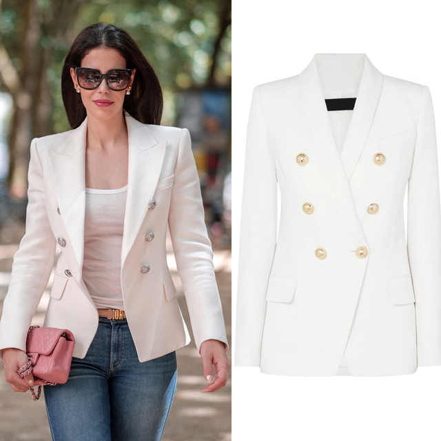 Textured Women Double Breasted Blazer Female White Slim Fit Long Blaizer  jackets Work Office Lady Suit Blezer Outerwear S-XXL
