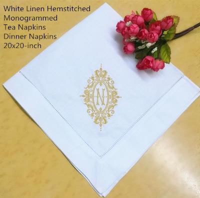 Set Of 12 Fshion Monogrammed Dinner Napkins White Linen Hemstitch Table Napkins 20