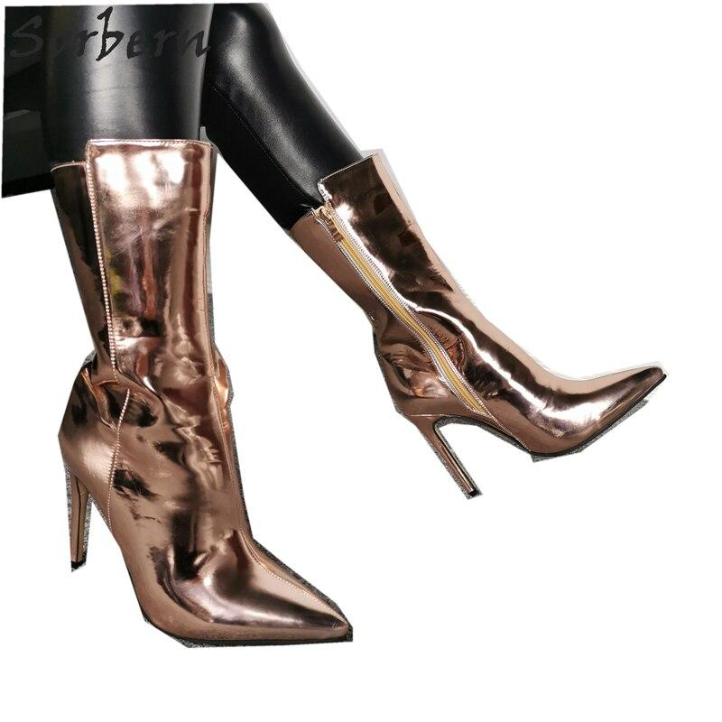 Sorbern Rose Gold Enkellaars Voor Dames Laarzen Hakken Custom Breed Enkel En Kleuren Bling Laarzen Metallic Size 11 Vrouwen schoenen