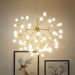 Nordic Firefly żyrandol nowoczesne proste szkło Ball sypialnia Led lampy kreatywne fajne restauracja żyrandol do salonu oprawa w Wiszące lampki od Lampy i oświetlenie na