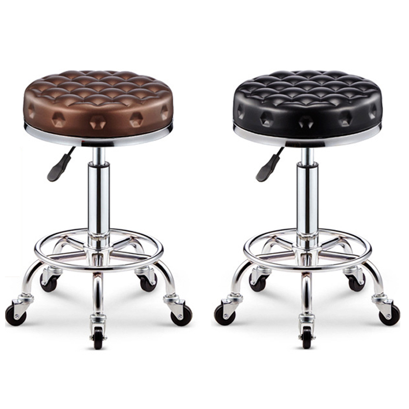 Bar Chair Lift Beauty Chair Rotation Barber Chair With Safety Pneumatic Rod With High Strength Nylon Iron Wheel