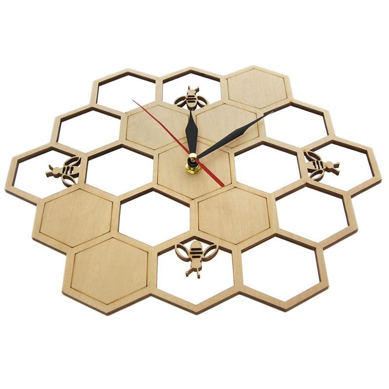 Fashion-Cut Wood Clock Honey Bee On Honey Comb Hexagon Nature Watch Wall Clock Geometric Kitchen Art Decor