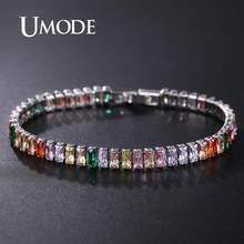 Umode 2019 na moda requintado tênis pulseira para mulheres de luxo micro incrustado multicolorido cristal aaa cz strand pulseiras ub0181k