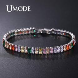 UMODE 2019 Trendy Exquisite Tennis Bracelet For Women Luxury Micro Inlaid Multicolor Crystal AAA CZ Strand Bracelets UB0181K