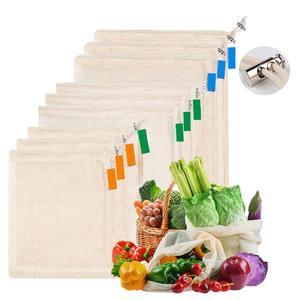 Image 2 - Siatki bawełniane worki warzywne produkują torby wielokrotnego użytku siatka bawełniana worek do przechowywania warzyw kuchenny owoc warzywny ze sznurkiem