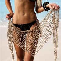 Women Beach Weave Hand Crochet Wrap Shawls Sexy Bikini Cover Up Sunscreen Nets Skirt Mesh Tunic Pareo Beachwear hot