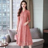 2019 Plus Size Vintage Lace Black Midi Dress Office Lady Women Bodycon Pink Dress Long Sleeve Party Dress Vestidos