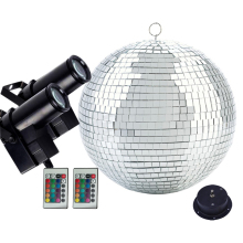Dia25CM 30CM Sliver Reflection Glass Mirror Disco Ball With Remote Control 10W RGB Beam Pinspot Lamps Home Party KTV Disco Light