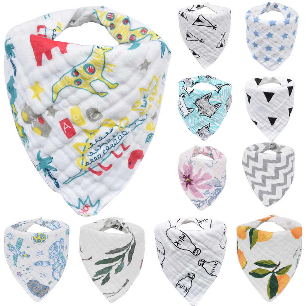 Muslin Baby Bibs Girls Boys Cloth Babador Feeding Towel Baby Bandana Bibs Bebe Smock Burp Cloths Accessory Infant Saliva Towel