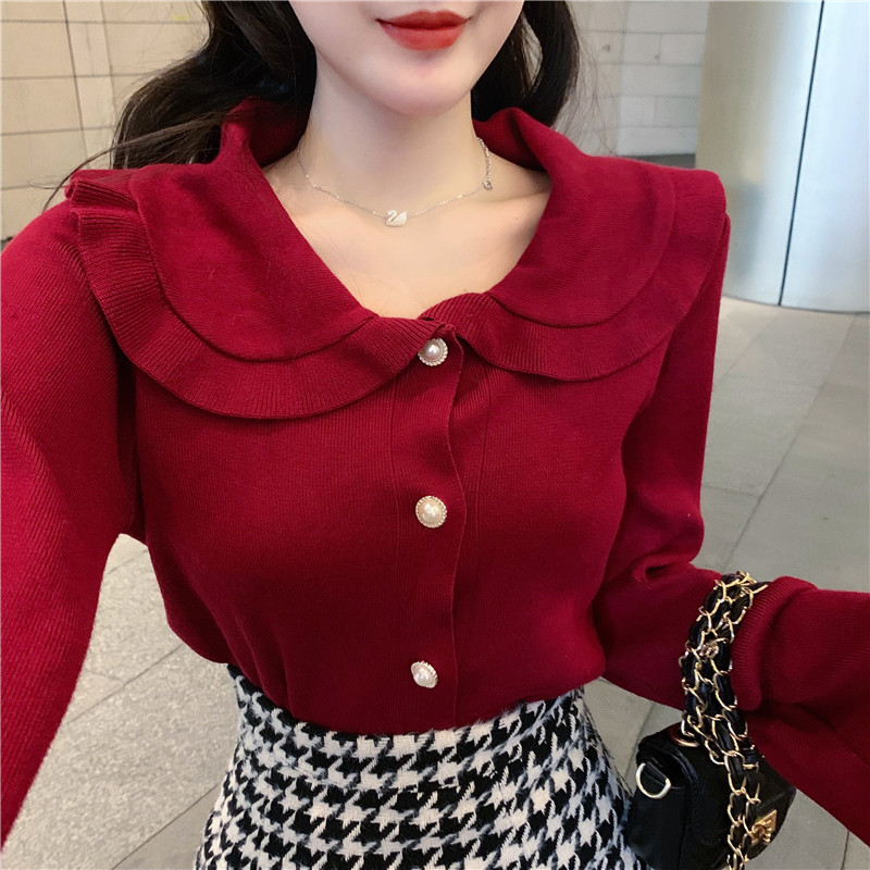 Women Knitted Full Sleeve Slim Ruffles Sweaters Cardigans Lady Single-breasted Full Flare Sleeve Sweet  Sweater Tops For Female
