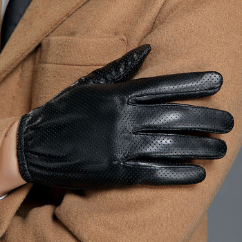 Real Leather Gloves Male Touchscreen Thin Silky Lined Driving Men Spring Autumn Motorcycle Sheepskin Gloves MLZ105 2020 new men genuine leather gloves male fashion trend autumn winter plush lined black suede sheepskin touch gloves 9006