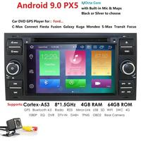 Hizpo Car Multimedia Player Android 9.0 GPS Autoradio 2 Din 7 Inch For Ford/Mondeo/Focus/Transit/C MAX/S MAX/Fiesta 4GB RAM PX5