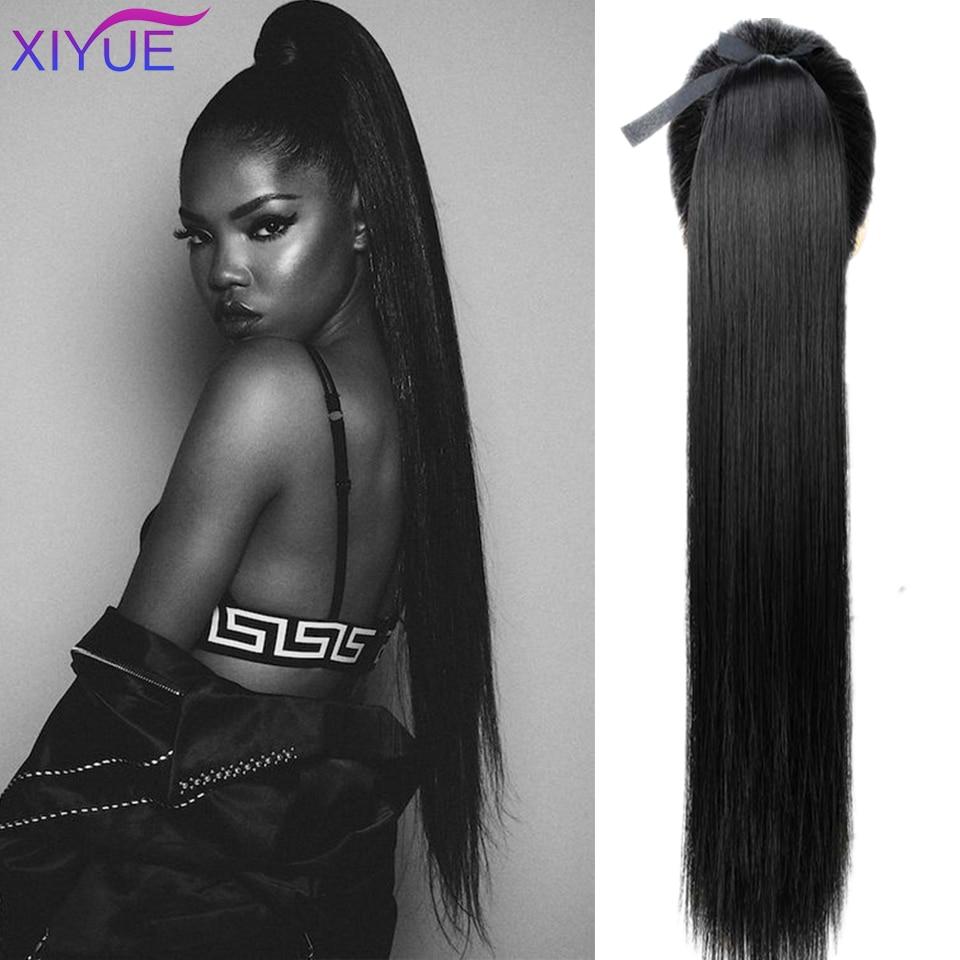 Супер длинные шелковистые прямые синтетические клипсы на шнурке 85 см, хвостик, шиньоны для женщин, наращивание волос из высокотемпературно...