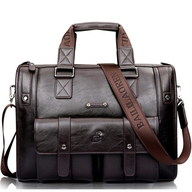 Men Leather Black Briefcase Business Vintage Shoulder Bag