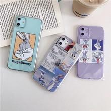 Мультяшный Прозрачный чехол для iPhone 11 11Pro Max для iPhone X XR XS Max 7 8 Plus Bugs Bunny чехол для телефона милый мягкий чехол