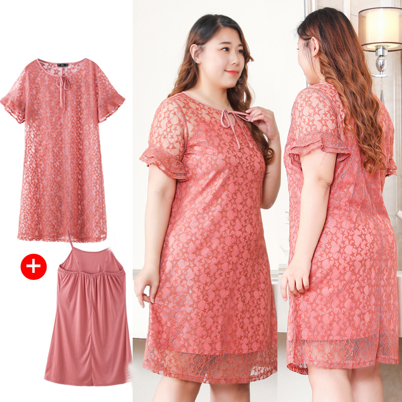 A Generation Of Fat Large Size WOMEN'S Dress 2019 Summer New Style Lace Camisole Two-Piece 200 Catty Slimming