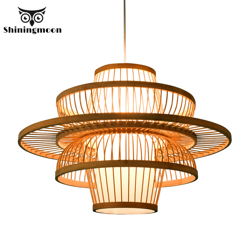 Chinese Bamboo Pendant Lights Creative Wooden Vintage Home Decor Kitchen Lustre Restaurant Loft Hanging