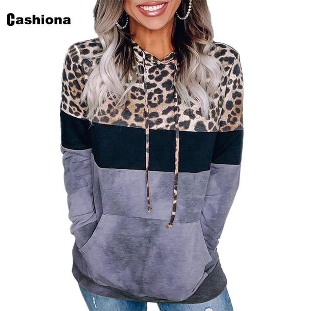 Cashiona 2020 Women Hoodie Sweatshirts Autumn Long Sleeve Patchwork Color Leopard Printed Tops Plus size Femme Casual Sweatshirt 3