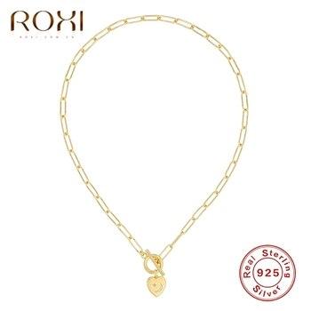 ROXI Ins-Collares con colgante de corazón y letras de cristal para mujer, joyería de plata de ley 925, collar de oro, Gargantilla de cadenas