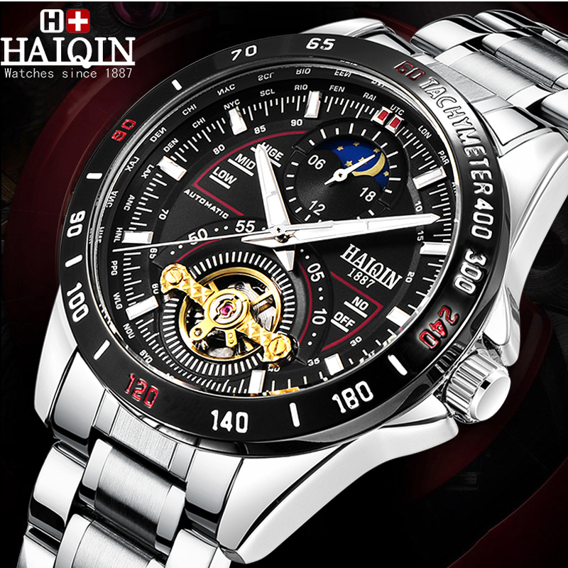 HAIQIN Men's Watches Automatic Mechanical Top Brand Sport Watch Tourbillon Moon Phase Stainless Steel Watch relojes hombre 2019