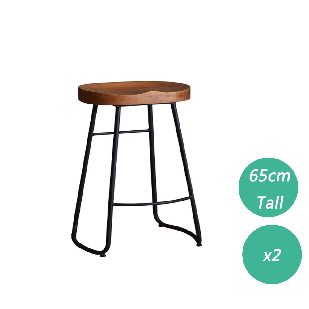 2PCS Black Retro-inspired Contemporary Stunning Look Solid Wood Counter Bar Stool For Kitchen Home Anti Slip Floor Protector