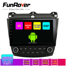 Funrover Android 9.0 Auto Radio Gps Navigatie Voor Honda Accord 7 2003-2007 Auto Dvd Video Multimedia Dvr Bt obd Rds 4G + 64G 8 Core(China)