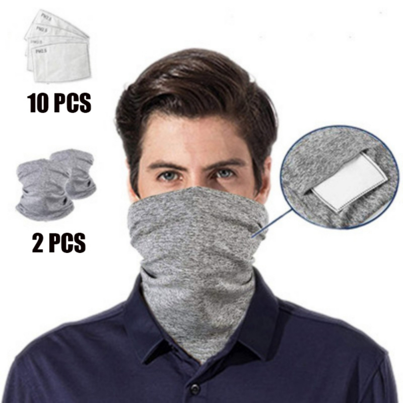 2 Pcs Multi-purpose Bandanas Unisex Anti-Dust Washable Face Cover Outdoors/Festivals/Sports Bib Scarf With 10 Filters