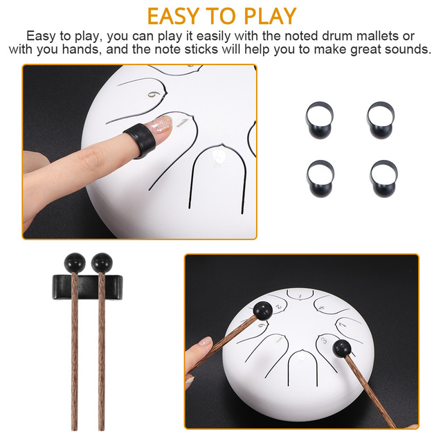 6 Inch Steel Tongue Drum 8 Tune Hand Pan Drum Tank Hang Drum With Drumsticks Carrying Bag Percussion Instruments 4
