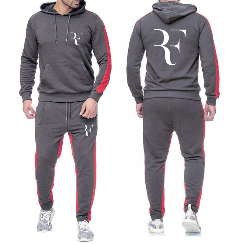 New Men's Sets Hoodies+Pants Suit Roger Federer Casual Tracksuit Male Casual Tshirt Gyms Fitness Trousers 2019 Men Classic Brand