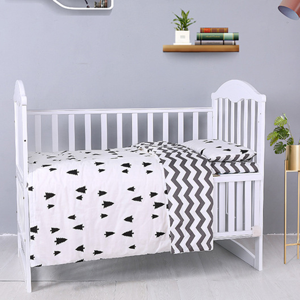 3Pcs Baby Bedding Set Cotton Crib Children's Bedspread White Stripe Pattern Baby Cot Including Duvet Cover Pillowcase Sheet