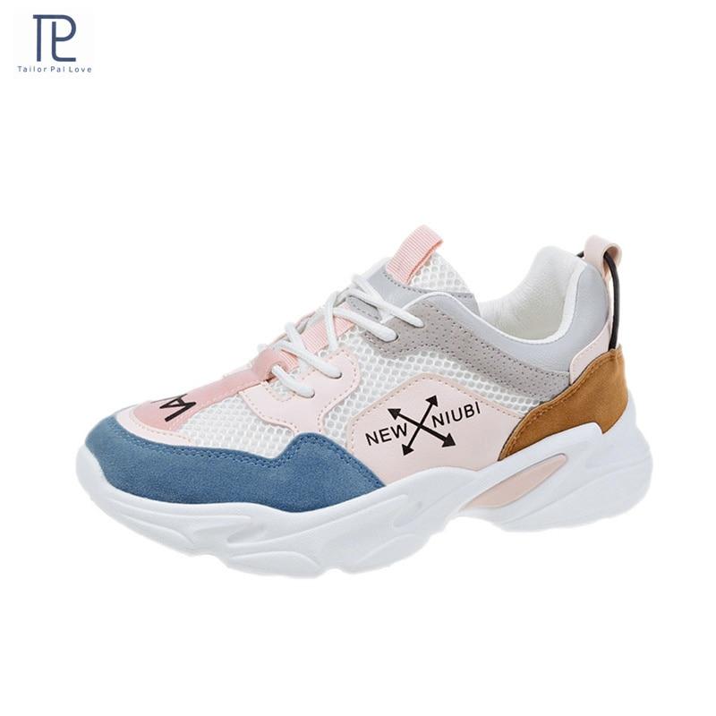 Autumn New Women's Mesh Breathable Platform Chunky Sneakers Fashion Women Flat Thick Sole Shoes Woman Casual Vulcanize Shoe