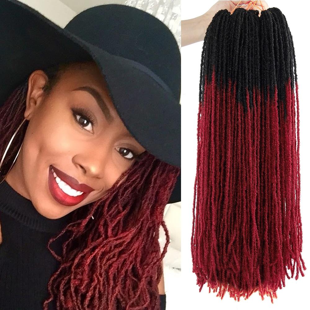 Deadlocks Sister Locks Afro Crochet Braids Ombre Color 18 Inch Brown Bug Synthetic Hair For Women Faux Locs Crochet Hair