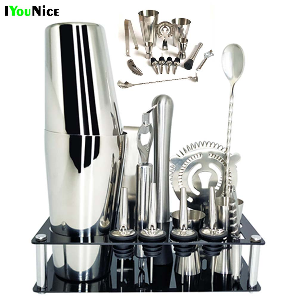 1-14 Pcs/set 600ml 750ml Stainless Steel Cocktail Shaker Mixer Drink Bartender Browser Kit Bars Set Tools With Wine Rack Stand image