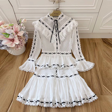 Baogarret Fashion Designer Runway Women Two Piece Set Vintage Flare Sleeve Hollow Out White Shirt + Mini Skirt Suit Twinset