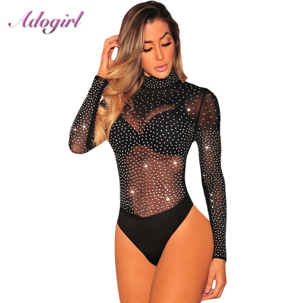 Sexy Shining Diamond Sheer Mesh Bodysuit Long Sleeve Mock Neck party club Jumpsuit Women Ropmer Autumn Casual Lady Body Tops Tee