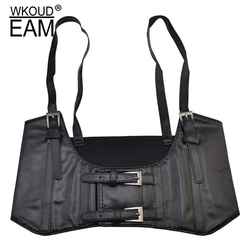 WKOUD EAM 2020 Fashion New Sling Imitation Leather Girdle Women Solid Velcro Buckle Decoration Casual High Street Female A31